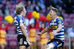 Werner Kok of Western Province celebrates as Robert du Preez of Western Province congratulates him for scoring a try during the Currie Cup Premier Division match between the DHL Western Province and the Sharks held at the DHL Newlands Rugby Stadium in Cape Town, South Africa on the 3rd September  2016<br /> <br /> Photo by: Shaun Roy / RealTime Images