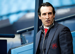 Arsenal manager Unai Emery arrives at the Etihad Stadium during the Premier League match at the Etihad Stadium, Manchester.