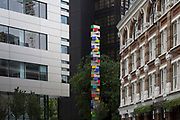 Chromorama, an art installation at the junction of Crown Place and Sun Street in the City of London, the capital's financial district, on 3rd September 2018, in London England. Chromorama, by London-based artist David Batchelor, comprises 35 illuminated light boxes which use the entire colour spectrum and face strategically in all directions. As is a hallmark of Batchelor's style, the boxes have been created from discarded everyday objects and items.