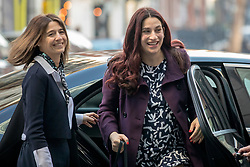 © Licensed to London News Pictures. 24/02/2019. London, UK. Former Labour MP Luciana Berger (R), who resigned from the party to join The Independent Group, arrives at BBC Broadcasting House to appear on The Andrew Marr Show. Photo credit: Rob Pinney/LNP