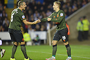 Everton's striker Gerard Deulofeu congratulated by Everton's defender Phil Jagielka during the Capital One Cup match between Reading and Everton at the Madejski Stadium, Reading, England on 22 September 2015. Photo by Mark Davies.