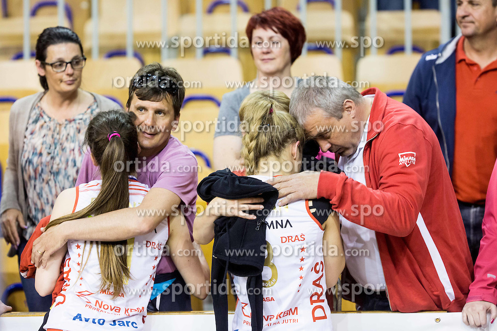 Tonka Pucnik of Nova KBM Branik and Anita Sobocan of Nova KBM Branik dejected with supporters after the final match between Calcit Ljubljana and Nova KBM Branik Maribor in 1st DOL Women League 2015/16, on May 9, 2016, in Arena Tivoli, Ljubljana, Slovenia. OK Calcit Ljubljana became Slovenian Champions 2016. Photo by Vid Ponikvar / Sportida
