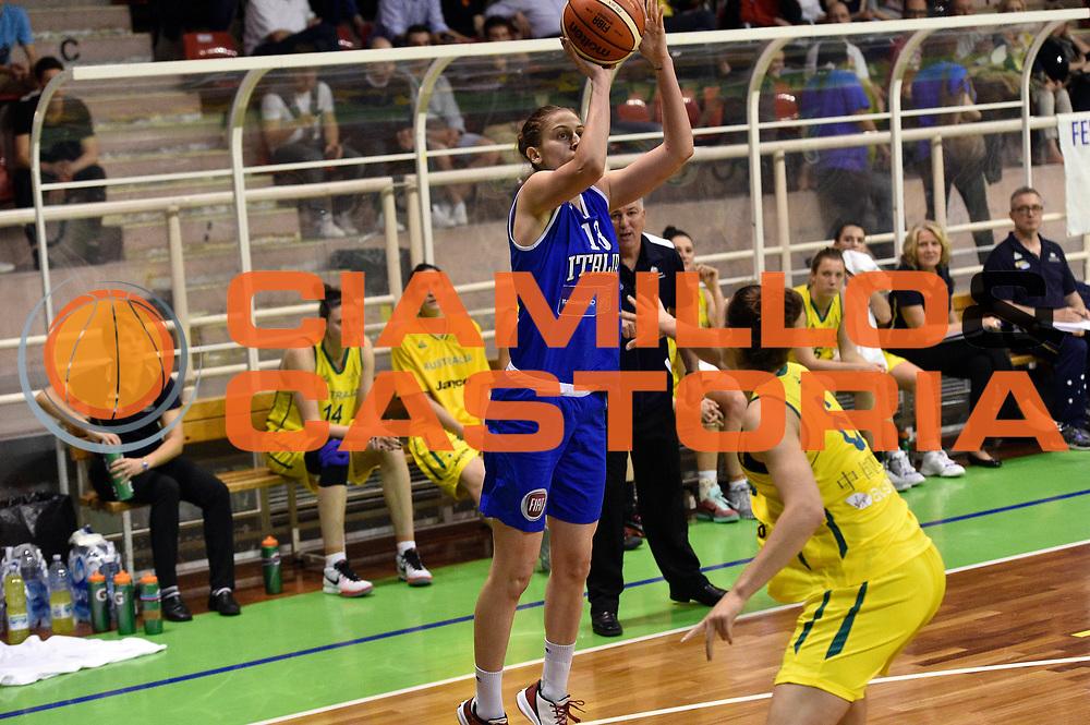 DESCRIZIONE : Pordenone Amichevole Pre Eurobasket 2015 Nazionale Italiana Femminile Senior Italia Australia Italy Australia<br /> GIOCATORE : Elisa Penna<br /> CATEGORIA : tiro three points<br /> SQUADRA : Italia Italy<br /> EVENTO : Amichevole Pre Eurobasket 2015 Nazionale Italiana Femminile Senior<br /> GARA : Italia Australia Italy Australia<br /> DATA : 28/05/2015<br /> SPORT : Pallacanestro<br /> AUTORE : Agenzia Ciamillo-Castoria/GiulioCiamillo<br /> Galleria : Nazionale Italiana Femminile Senior<br /> Fotonotizia : Pordenone Amichevole Pre Eurobasket 2015 Nazionale Italiana Femminile Senior Italia Australia Italy Australia<br /> Predefinita :