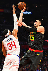 January 29, 2019 - Los Angeles, CA, U.S. - LOS ANGELES, CA - JANUARY 28: Atlanta Hawks Center Alex Len (25) shoots over Los Angeles Clippers Forward Tobias Harris (34) during a NBA game between the Atlanta Hawks and the Los Angeles Clippers on January 28, 2019 at STAPLES Center in Los Angeles, CA. (Photo by Brian Rothmuller/Icon Sportswire) (Credit Image: © Brian Rothmuller/Icon SMI via ZUMA Press)