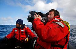 ATLANTIC OCEAN ABOARD ARCTIC SUNRISE 21MAY11 - Cameraman Mario Poeta of Italy aboard the Arctic Sunrise.....Photo by Jiri Rezac / Greenpeace