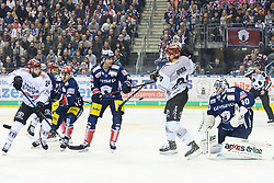 01.03.2019, O2 World, Berlin, GER, DEL, Eisbaeren Berlin vs Koelner Haie, 52. Runde, im Bild v.l. Rok Ticar #24 - Haie, Danny Richmond - Eisbaeren, Sebastian Uvira #93 - Haie, Kevin Poulin - Eisbaeren // during the DEL 52th round match between Eisbaeren Berlin and Koelner Haie at the O2 World in Berlin, Germany on 2019/03/01. EXPA Pictures © 2019, PhotoCredit: EXPA/ Eibner-Pressefoto/ Uwe Koch<br /> <br /> *****ATTENTION - OUT of GER*****