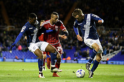 Emilio Nsue of Middlesbrough tries to get through Maikel Kieftenbeld of Birmingham City and David Davis of Birmingham City - Mandatory by-line: Robbie Stephenson/JMP - 29/04/2016 - FOOTBALL - St Andrew's Stadium - Birmingham, England - Birmingham City v Middlesbrough - Sky Bet Championship