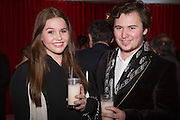 PHOEBE LOVELAND; MAX SANDERS, Pre -drinks at the St. Martin's Lane Hotel before a performance of the English National Ballet's Nutcracker: London Coliseum.12 December 2013