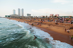 Crowded waterfront beach, Colombo, Sri Lanka, Asia