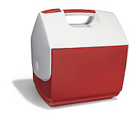 red and white lunchtime cooler