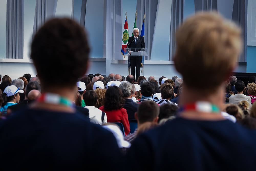 Sondrio, Italy - 26-09-2016: The President of the Republic of Italy, Sergio Mattarella, participates at the opening of the school year