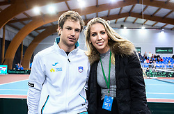 Blaz Kavcic and Sabina Velic during Day 3 of the tennis matches between Slovenia and Monaco of 2017 Davis Cup Europe/Africa Zone Group II, on February 5, 2017 in Tennis Arena Tabor, Maribor Slovenia. Photo by Vid Ponikvar / Sportida