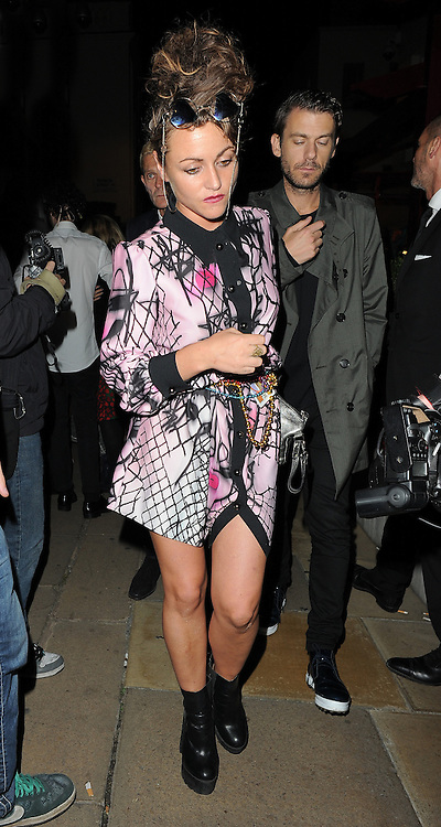 Jaime Winstone leaving the LFW AnOther Magazine party at Loulou's private members club in Mayfair, London, UK. 15/09/2014<br />