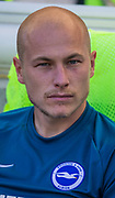 Aaron Mooy (Brighton) on the bench during the Premier League match between Brighton and Hove Albion and Burnley at the American Express Community Stadium, Brighton and Hove, England on 14 September 2019.