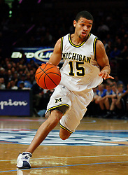Nov 21, 2008; New York, NY, USA; Michigan Wolverines guard David Merritt (15) dribbles the ball during the 2K Sports Classic Championship game against the Duke Blue Devils at Madison Square Garden. Duke won 71-56.