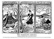 The Washington Hatchet. American design for a Japanese Screen. [It is announced that the Anglo-Japanese Alliance is to be terminated in favour of an understanding between the Four Great Powers that have interests in the Pacific.] (an InterWar era cartoon in the style of Japanese panel art shows Uncle Sam chopping down the Anglo-Japanese Alliance tree as John Bull and Japan look on)