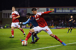 Plymouth Defender Andre Blackman (ENG) is challenged by Swindon Defender Raphael Rossi Branco (BRA) during the second half of the match - Photo mandatory by-line: Rogan Thomson/JMP - Tel: Mobile: 07966 386802 08/10/2013 - SPORT - FOOTBALL - County Ground, Swindon - Swindon Town v Plymouth Argyle - Johnstone Paint Trophy Round 2.