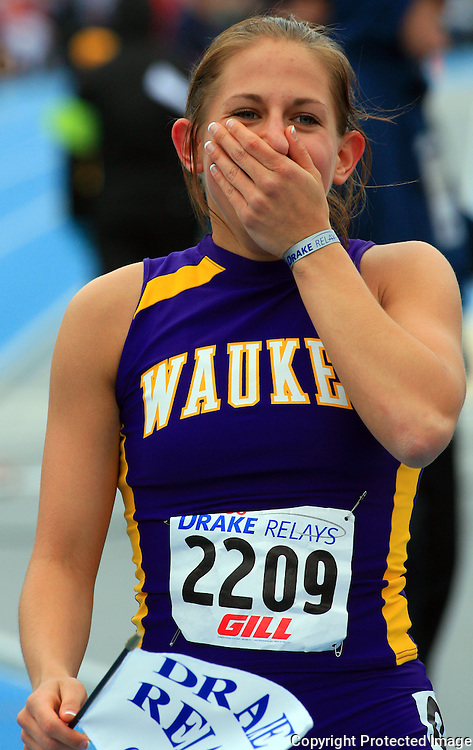 2008 - Waukee's Colette Gnade, is surprised to have won the Girls 800 Meter Run High School in 2:14.09
