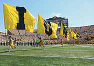 September 15 2012: The Iowa Hawkeyes take the field before the start of the NCAA football game between the Northern Iowa Panthers and the Iowa Hawkeyes at Kinnick Stadium in Iowa City, Iowa on Saturday September 15, 2012. Iowa defeated Northern Iowa 27-16.