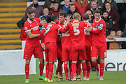 Leyton Orient midfielder Bradley Pritchard celebrates his goal during the Sky Bet League 2 match between Hartlepool United and Leyton Orient at Victoria Park, Hartlepool, England on 15 November 2015. Photo by Simon Davies.