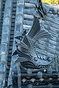"Rooftop fish sculpture ""for fire protection"" on Himeji Castle, built 1609, Hyogo Prefecture, Japan. Himeji Castle is both a national treasure and a UNESCO World Heritage Site. Unlike many other Japanese castles, it was never destroyed by war, earthquake or fire and survives to this day as one of the country's twelve original castles. History: Starting as forts built in 1333 and 1346, Himeji Castle (aka White Heron Castle or White Egret Castle) was remodeled in 1561, remodeled in 1581, enlarged in 1609 to its present complex, extensively repaired in 1956, and renovated in 2009-15. Displayed inside are historic samurai armour and swords. From the upper floors, view fish-shaped roof ornaments that are believed to protect from fire. Across the moat, visit Koko-en, a pleasing reconstruction of former samurai quarters, nine Edo period homes, plus movie-set gardens. Himeji Castle starred in the 1967 James Bond movie ""You Only Live Twice""; in Akira Kurosawa's 1980 film ""Kagemusha"" and 1985 ""Ran""; and in the 1980 television miniseries Shogun (portraying feudal Osaka castle). By train, Himeji is 3 hours round trip from Kyoto."