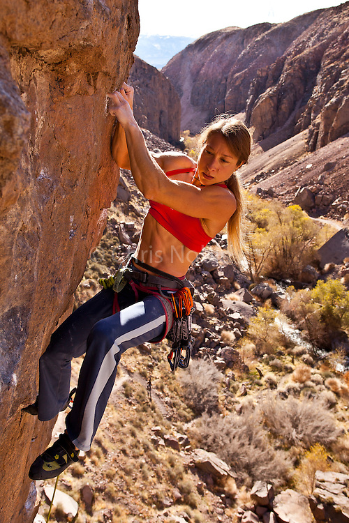 "Professional rock climber Lisa Rands leads ""Flux Capacitor"" rated 12c, in the Owens River Gorge"