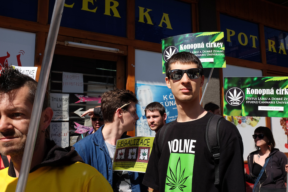 Supporters marching in the first Million Marijuana March to be organized in Ostrava, Czech Republic, supporting the legalization of marijuana.