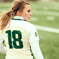 4th year defender, Cassie Longmuir (18) of the Regina Cougars during the Women's Soccer home game on Sat Oct 13 at U of R Field. Credit: Arthur Ward/Arthur Images