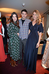 Left to right, LILY LEWIS, JASON DE SAVARY and LADY KINVARA BALFOUR at a party hosted by Lady Kinvara Balfour, Lavinia Brennan and Lady Natasha Rufus Isaacs to celebrate the Beulah French Sole Collaboration in aid of the UN Blue Heart Campaign, held at George, 87-88 Mount Street, London on 10th December 2013.