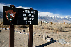 National Park Service welcome sign to Manzanar National Historic Site, Independence, California