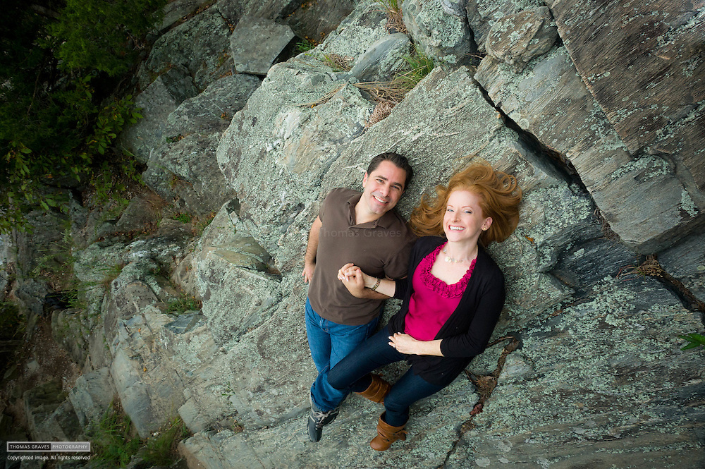 Jean Duggan & Joe Foschetti are shown here on the Maryland side of Great Falls Park for their engagement photo. The two became engaged not far from where these photos were taken.