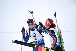 06.03.2016, Holmenkollen, Oslo, NOR, IBU Weltmeisterschaft Biathlion, Oslo, Verfolgung, Damen, im Bild dorin habert marie (fra), dahlmeier laura (ger) // during Womens pursuit Race of the IBU World Championships, Oslo 2016 at the Holmenkollen in Oslo, Norway on 2016/03/06. EXPA Pictures © 2016, PhotoCredit: EXPA/ Pressesports/ MONS FREDERIC<br /> <br /> *****ATTENTION - for AUT, SLO, CRO, SRB, BIH, MAZ, POL only*****