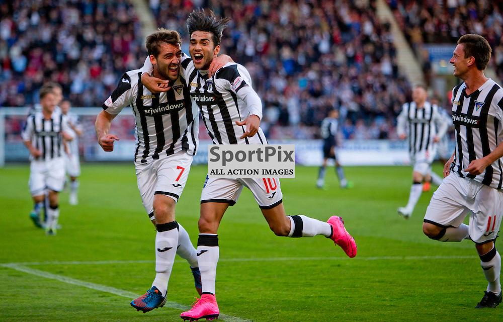 Dunfermline Athletic v Dundee Scottish League cup East End Park 25 August 2015<br /> Faissal El Bahktaoui celebrates making it 1-0<br /> CRAIG BROWN | sportPix.org.uk