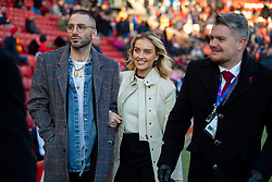 LIVERPOOL, ENGLAND - Saturday, November 30, 2019: Singer Perrie Edwards (C) partner of Liverpool's Alex Oxlade-Chamberlain pictured before the FA Premier League match between Liverpool FC and Brighton & Hove Albion FC at Anfield. (Pic by David Rawcliffe/Propaganda)