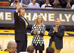 New Athletic Director Shane Lyons is welcomed to the mountaineer family during the first half at the WVU Coliseum.