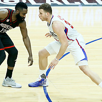 01 March 2017: LA Clippers forward Blake Griffin (32) defends on Houston Rockets guard James Harden (13) during the Houston Rockets 122-103 victory over the LA Clippers, at the Staples Center, Los Angeles, California, USA.