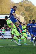 Jon Meades of AFC Wimbledon jumps highest during the Sky Bet League 2 match between AFC Wimbledon and Hartlepool United at the Cherry Red Records Stadium, Kingston, England on 31 October 2015. Photo by Stuart Butcher.