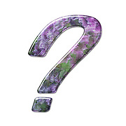 The Question Mark symbol. Part of a set of letters, Numbers and symbols of 3D Alphabet made with a floral image on white background