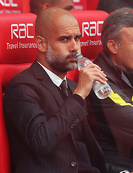 Manchester City manager Pep Guardiola takes a drink - Mandatory by-line: Matt McNulty/JMP - 20/08/2016 - FOOTBALL - Bet365 Stadium - Stoke-on-Trent, England - Stoke City v Manchester City - Premier League