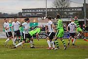 Forest Green Rovers Charlie Clough(5) heads the ball misses the target during the Vanarama National League match between Bromley FC and Forest Green Rovers at Hayes Lane, Bromley, United Kingdom on 7 January 2017. Photo by Shane Healey.