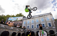 Rick Koekoek attempts the Guinness World Record for the gap jump at The Green Park Festival Zone. The Prudential RideLondon FreeCycle. Saturday 28th July 2018<br /> <br /> Photo: Jed Leicester for Prudential RideLondon<br /> <br /> Prudential RideLondon is the world's greatest festival of cycling, involving 100,000+ cyclists - from Olympic champions to a free family fun ride - riding in events over closed roads in London and Surrey over the weekend of 28th and 29th July 2018<br /> <br /> See www.PrudentialRideLondon.co.uk for more.<br /> <br /> For further information: media@londonmarathonevents.co.uk