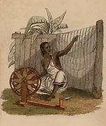 Indian woman spinning cotton using a simple spinning wheel.  Hand-coloured engraving published Rudolph Ackermann, London, 1822.