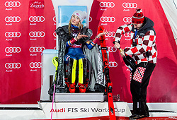 "Winner and Snow Queen 2018 Mikaela Shiffrin (USA) with a men help opening a champagne at Trophy ceremony after 2nd Run of FIS Alpine Ski World Cup 2017/18 Ladies' Slalom race named ""Snow Queen Trophy 2018"", on January 3, 2018 in Course Crveni Spust at Sljeme hill, Zagreb, Croatia. Photo by Vid Ponikvar / Sportida"