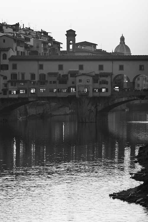 "Black and white photograph from the beautiful bridge Ponte Vecchio in Florence Italy.This photo is available as open edition and limited edition giclee print in four sizes. Click on ""Get Print"" to see more details."