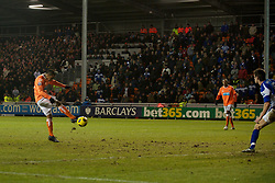 BLACKPOOL, ENGLAND - Tuesday, January 4, 2011: Blackpool's Dudley Campbell scores the equalising goal against Birmingham City during the Premiership match at Bloomfield Road. (Pic by: David Rawcliffe/Propaganda)