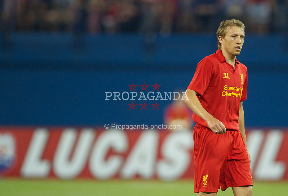 TORONTO, CANADA - Saturday, July 21, 2012: Liverpool's Lucas Leiva in action against Toronto during the first match of the North American pre-season tour at the Rogers Centre. (Pic by David Rawcliffe/Propaganda)