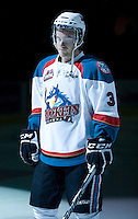 KELOWNA, CANADA, DECEMBER 27: Kevin Smith #3 of the Kelowna Rockets stands in the starting line up as the Spokane Chiefs visit the Kelowna Rockets on December 7, 2011 at Prospera Place in Kelowna, British Columbia, Canada (Photo by Marissa Baecker/Getty Images) *** Local Caption ***
