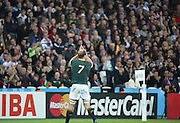 South Africa's Schalk Burger saying goodbye to the fans in  possibly his last match during the Rugby World Cup Bronze Final match between South Africa and Argentina at the Queen Elizabeth II Olympic Park, London, United Kingdom on 30 October 2015. Photo by Matthew Redman.