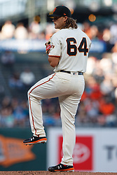 SAN FRANCISCO, CA - JUNE 12: Shaun Anderson #64 of the San Francisco Giants pitches against the San Diego Padres during the first inning at Oracle Park on June 12, 2019 in San Francisco, California. The San Francisco Giants defeated the San Diego Padres 4-2. (Photo by Jason O. Watson/Getty Images) *** Local Caption *** Shaun Anderson