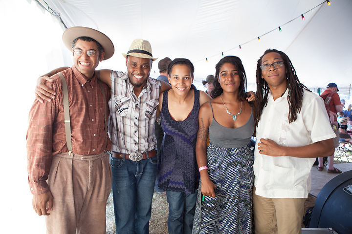 Carolina Chocolate Drops and Cedric Watson backstage after the set.